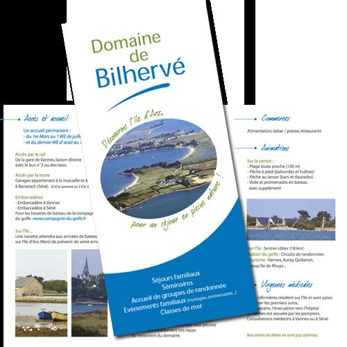 Dépliant pour le domaine de Bilhervé